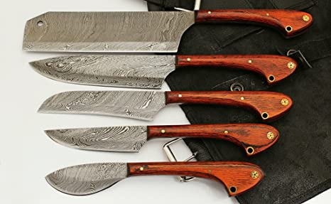 1033 Custom Made Damascus Steel 5 pcs Professional Kitchen Chef Knife Set