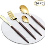 Amazon Brand Black with Gold Silverware Serving Set