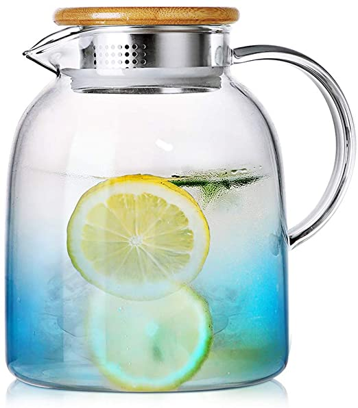 Glass Pitcher with Bamboo Lid | Stove Safe Pitcher