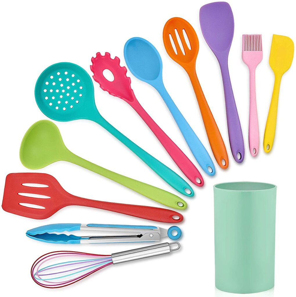 LIANYU 12-Piece Silicone Kitchen Cooking Utensils with Holder