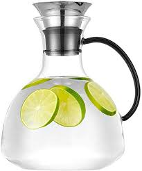 Purefold 68 Ounce Glass Pitcher with Drip-Free Stainless Steel Lid, Hot and Cold Water Carafe